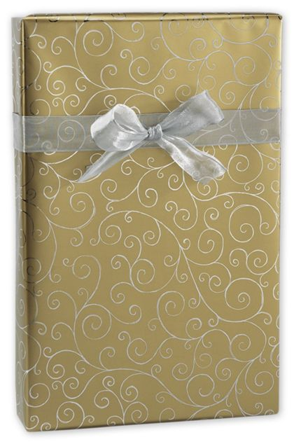 "Gold/Silver Swirly Foil Gift Wrap, 24"" x 417'"