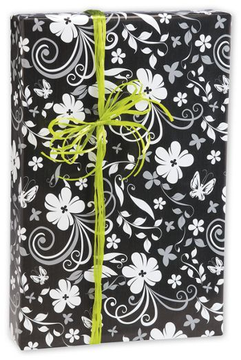 Black & White Floral Gift Wrap, 24