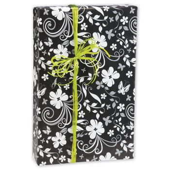 "Black & White Floral Gift Wrap, 24"" x 417'"