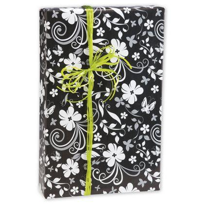 "Black & White Floral Gift Wrap, 24"" x 417'"