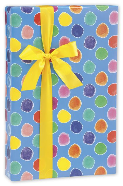 "Painted Polka Dots Gift Wrap, 24"" x 417'"