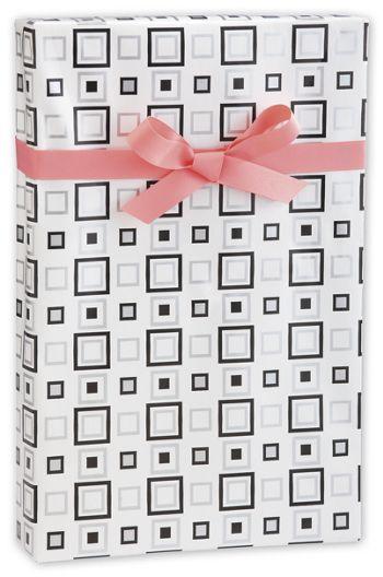 Black & Silver Squares Gift Wrap, 24