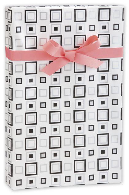 "Black & Silver Squares Gift Wrap, 24"" x 417'"