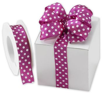 White Polka Dots on Magenta Wired Ribbon, 1
