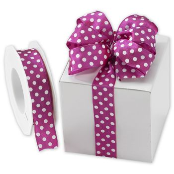 "White Polka Dots on Magenta Wired Ribbon, 1"" x 22 Yds"