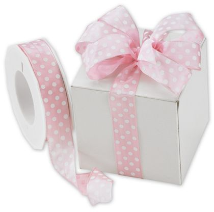 "White Polka Dots on Pink Wired Ribbon, 1"" x 22 Yds"