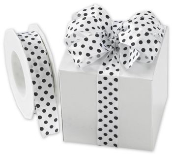 Black Polka Dots on White Wired Ribbon, 1