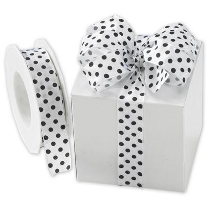 "Black Polka Dots on White Wired Ribbon, 1"" x 22 Yds"