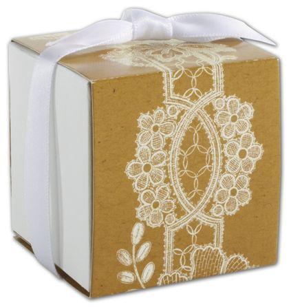 """Rustic Lace Wrap Favor Boxes, 2 x 2 x 2"""""""