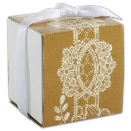 Rustic Lace Wrap Favor Boxes, 2 x 2 x 2""
