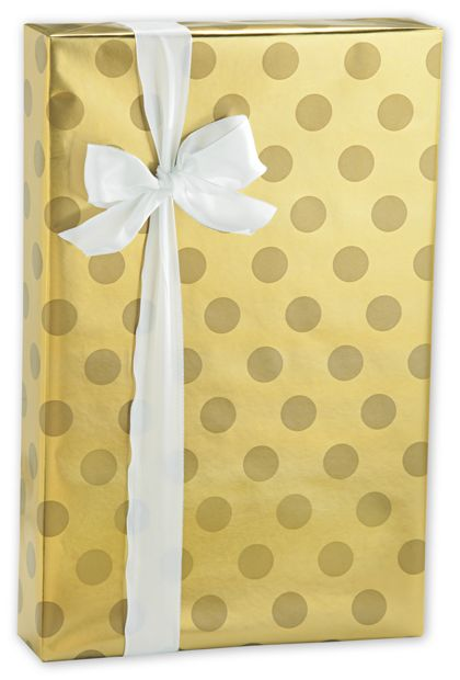 "Gold Dot Foil Gift Wrap, 24"" x 417'"