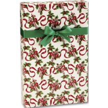 """Red Ribbons and Canes Gift Wrap, 24"""" x 100'"""