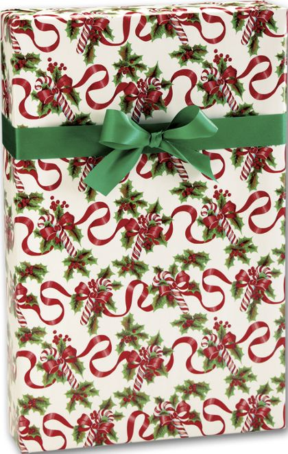 "Red Ribbons and Canes Gift Wrap, 24"" x 100'"