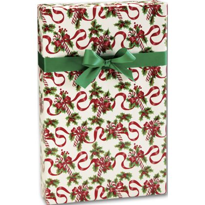 """Red Ribbons and Canes Gift Wrap, 24"""" x 417'"""