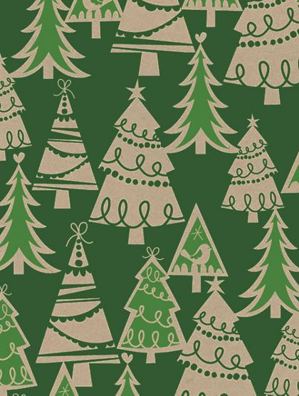 "Holiday Forest/Kraft Gift Wrap, 24"" x 100'"