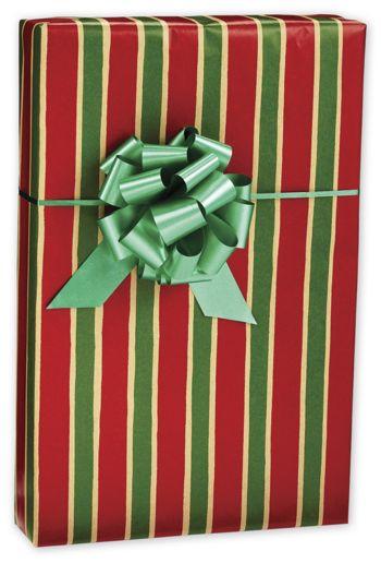 Christmas Stripe/Kraft Jeweler's Roll Gift Wrap, 7 3/8x100