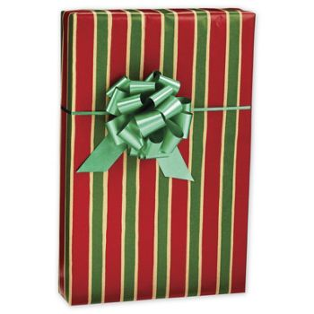 Christmas Stripe/Kraft Jeweler's Roll Gift Wrap, 7 3/8x100