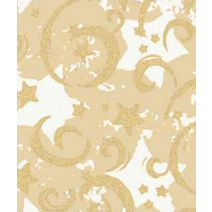 "Gold Stars & Swirls Gift Wrap, 24"" x 100'"