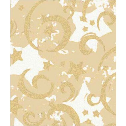 "Gold Stars & Swirls Gift Wrap, 24"" x 417'"
