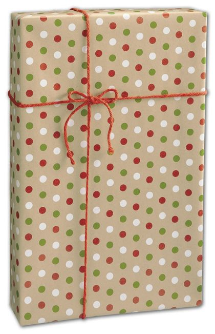 "Dotty Kraft Christmas Gift Wrap, 24"" x 100'"