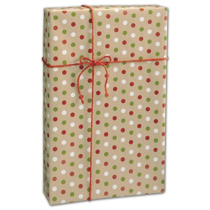 "Dotty Kraft Christmas Gift Wrap, 24"" x 417'"