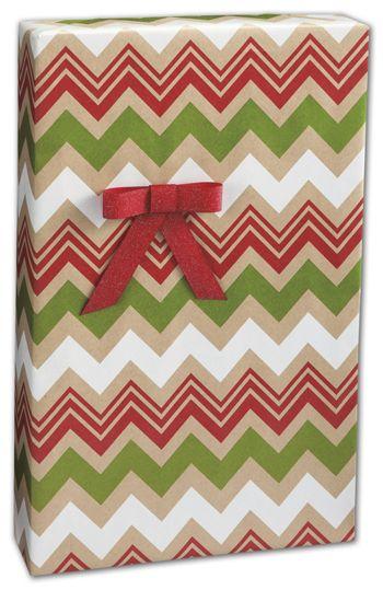 Zig Zag Kraft Christmas Gift Wrap, 24