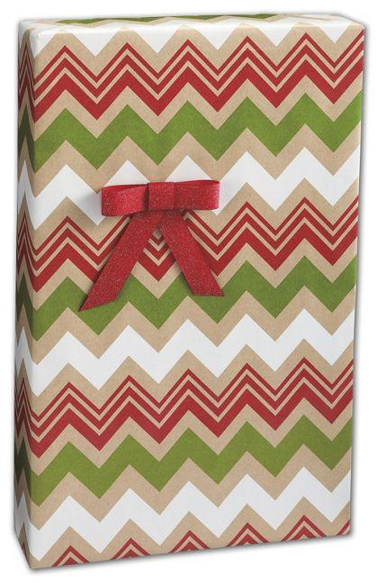 "Zig Zag Kraft Christmas Gift Wrap, 24"" x 100'"