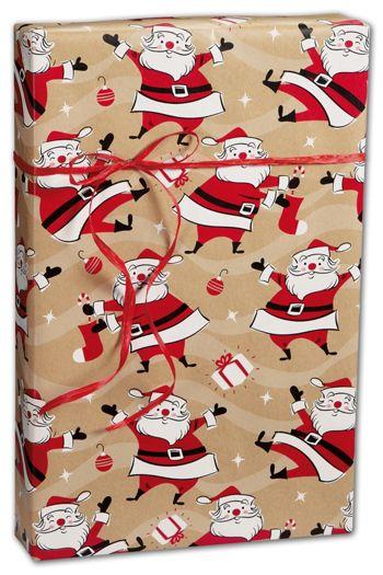 Swingin' Santa Kraft Gift Wrap, 24