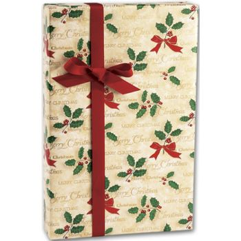 "Scripted Holly Gift Wrap, 24"" x 100'"