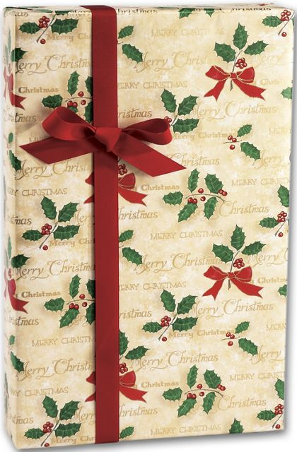 "Scripted Holly Gift Wrap, 24"" x 417'"