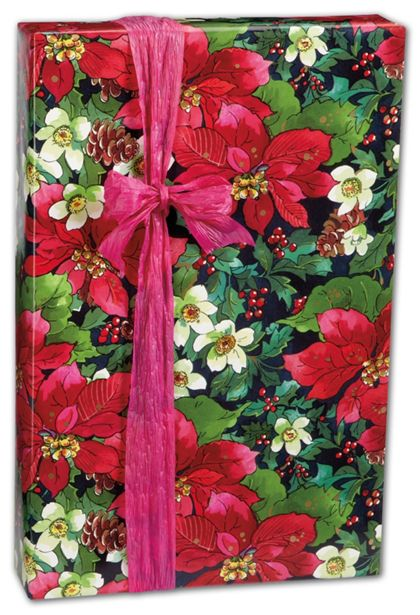 "Pinecones and Poinsettias Gift Wrap, 24"" x 100'"