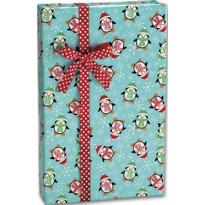 """Roly Poly Penguins Gift Wrap, 24"""" x 100'"""