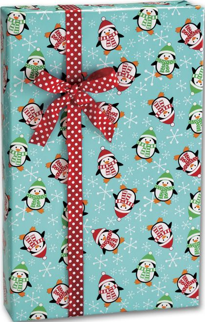 """Roly Poly Penguins Gift Wrap, 24"""" x 417'"""