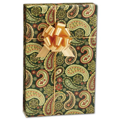"Holiday Paisley Gift Wrap, 24"" x 100'"