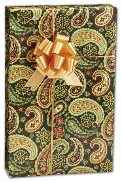 "Holiday Paisley Gift Wrap, 24"" x 417'"
