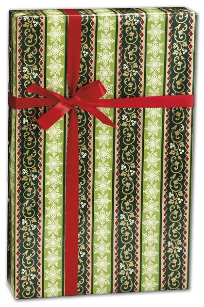 "Holiday Stripe Gift Wrap, 24"" x 100'"