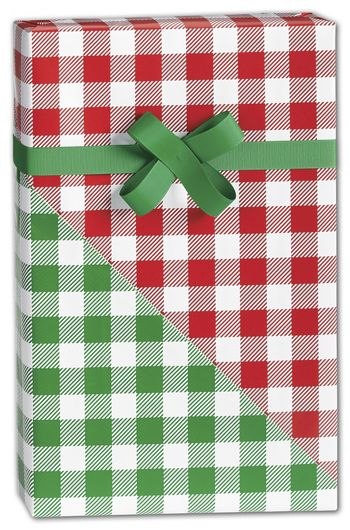Christmas Gingham Reversible Gift Wrap, 24