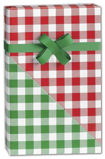 "Christmas Gingham Reversible Gift Wrap, 24"" x 417'"