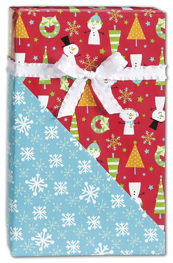 Snow Buddies Reversible Gift Wrap, 24