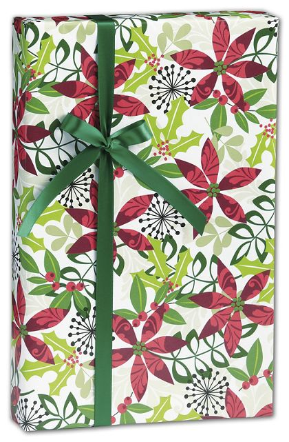 "Christmas Flora Gift Wrap, 24"" x 417'"