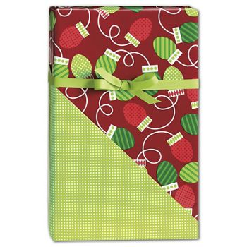 Christmas Bulbs Reversible Gift Wrap, 24