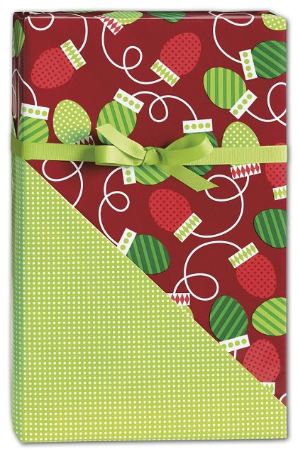 "Christmas Bulbs Reversible Gift Wrap, 24"" x 100'"