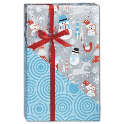 "Snowplay Reversible Gift Wrap, 24"" x 100'"