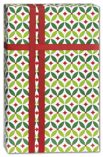 "Geo Holly Gift Wrap, 24"" x 100'"