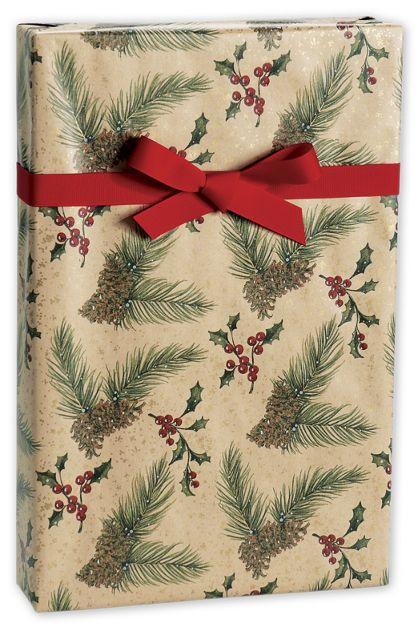 "Pine/Kraft Gift Wrap, 24"" x 417'"