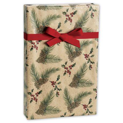 "Pine/Kraft Gift Wrap, 24"" x 100'"