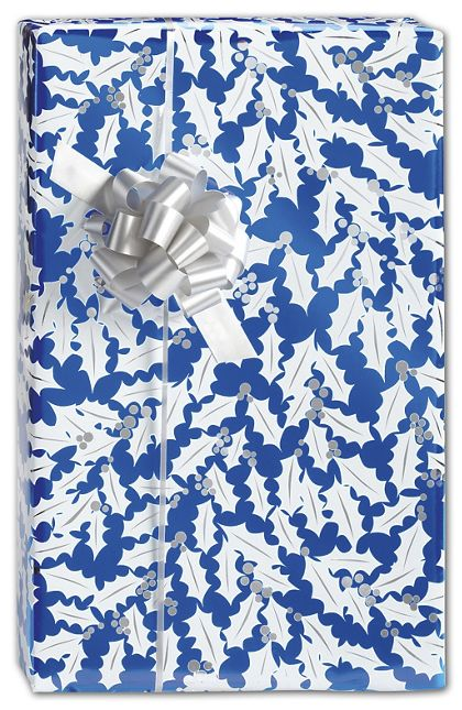 "Sapphire Holly Gift Wrap, 24"" x 100'"