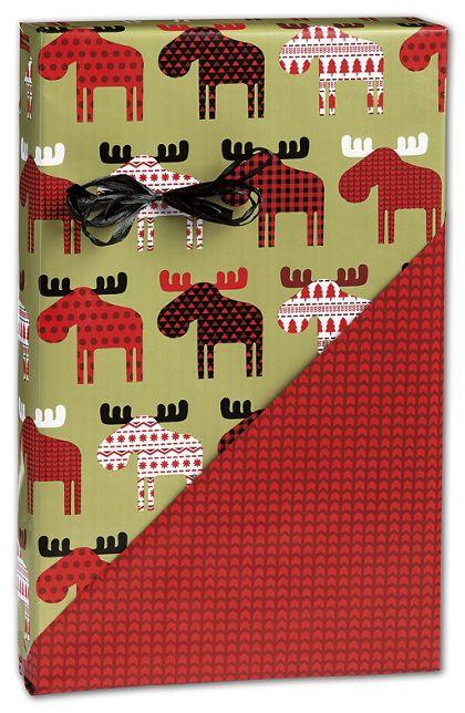 """Material Moose Reversible Gift Wrap, 24"""" x 417'"""