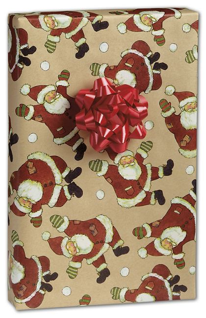 "Santa Celebration Kraft Gift Wrap, 24"" x 100'"