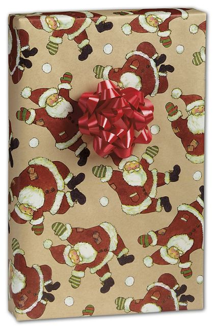 "Santa Celebration Kraft Gift Wrap, 24"" x 417'"